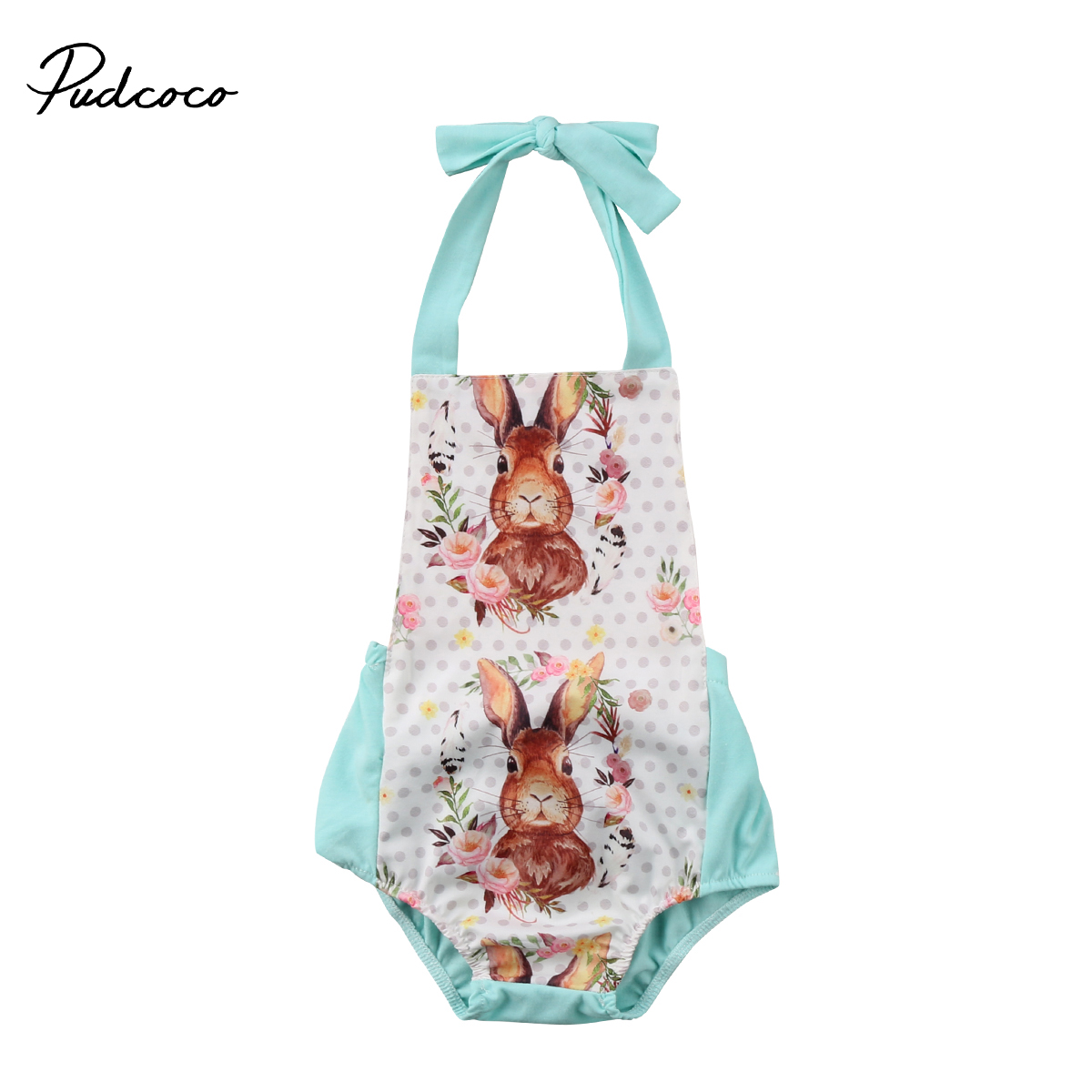 Pudcoco Infant Baby Girls Halter Romper Summer Backless Jumpsuit Floral Outfits Easter Clothes pudcoco newborn baby girl clothes 2017 summer sleeveless floral romper backless jumpsuit sunsuit children clothes