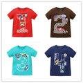 2017 nuevo verano Camisetas bebé ropa de los muchachos 100% de los Bebés del algodón t número de la camiseta de la historieta embroma la ropa de moda