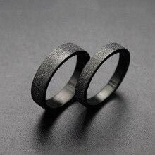 2018 anillos simples de color negro Scrub 316L Acero inoxidable anillo de mujer masculina accesorios de joyería de moda