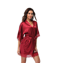 Women's Sexy Satin Short Kimono Robe-Lace Trim New Lace Bridesmaid Wedding Kimono Gown Female Rayon Sleepwear Home Wear D128-10(China)