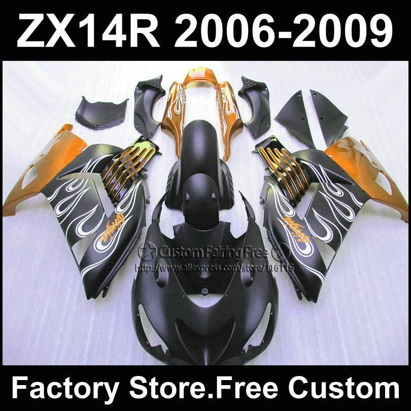 Custom Motorcycle ABS Injection fairing kit for Kawasaki 2006 2007 2008 2009 ZX 14R Ninja ZX14R 06-09 black orange fairings kits aftermarket free shipping motorcycle parts eliminator tidy tail for 2006 2007 2008 fz6 fazer 2007 2008b lack