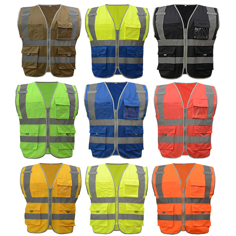 SFvest brand mens reflective safety vest waistcoat Hi visibility multi pockets workwear fluorescent yellow orange free shipping ccgk safety clothing reflective high visibility tops tee quick drying short sleeve working clothes fluorescent yellow workwear