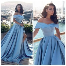 2019 Off Vai Satin A-Line Prom Dresses Sexy Chia Front Sweep Train Dài Phụ Nữ Dịp Đặc Biệt Đảng Gowns Evening Maxi(China)