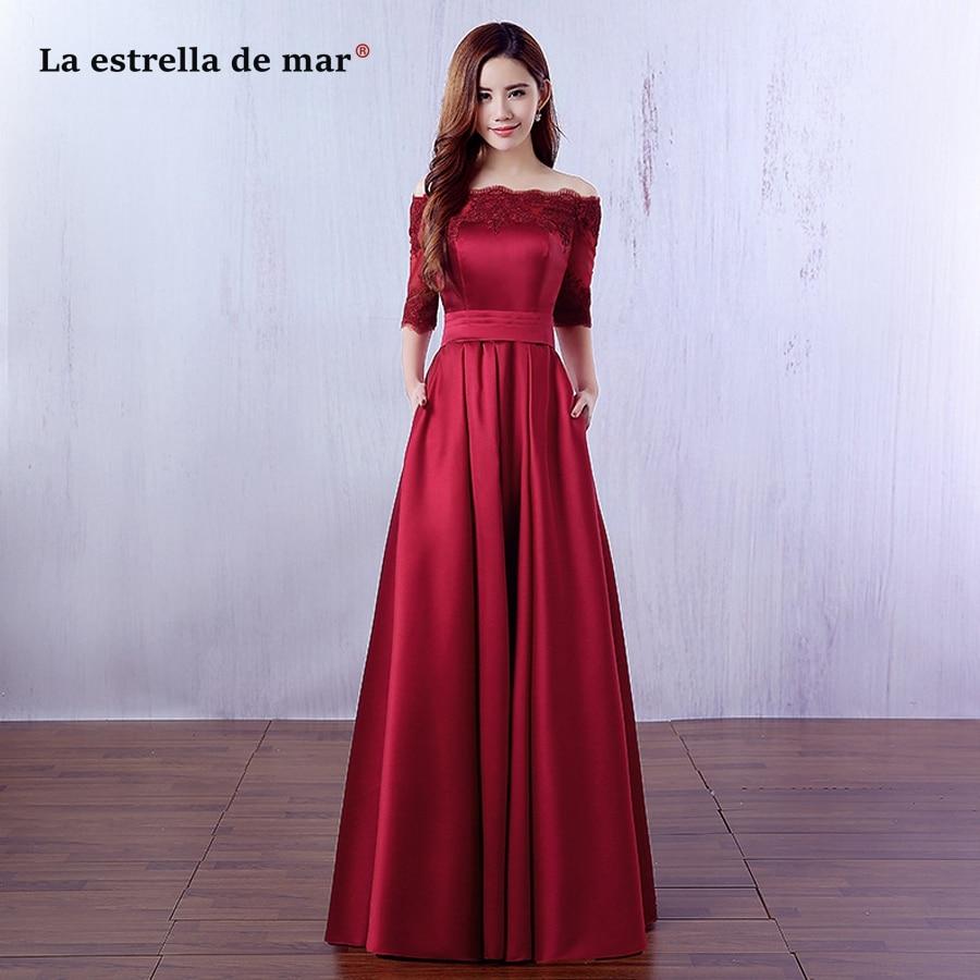 Vestido de festa longo para casamento vestido para madrinha new Boat Neck lace Half sleeves a Line burgundy   bridesmaid     dresses