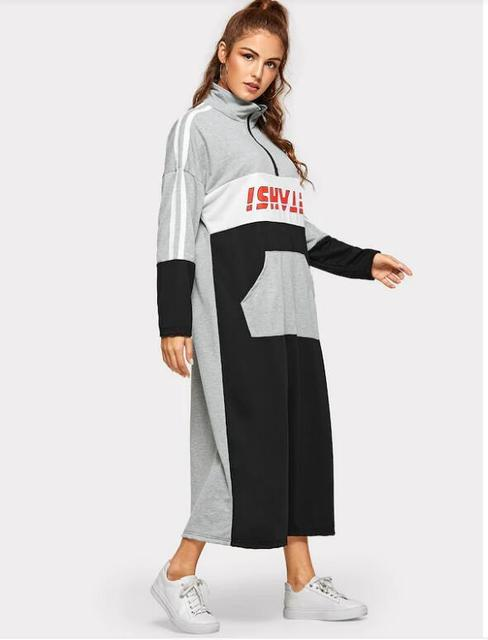 Spring Cotton Dress Teenagers Students Sport Long Dress Muslim Women Young Girl Casual with Pockets Zipper Patchwork Dress 968