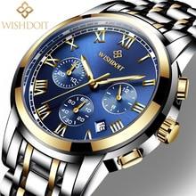 Relogio Masculino WISHDOIT Silver Mens Watches Top Brand Luxury Fashion Casual Business Watch Men Sport Wristwatch Montre Homme