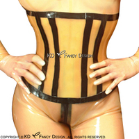 Transparent With Black Stripes Sexy Latex Corsets With Lacing Back Rubber Bustiers Top 1.0mm CY 0012