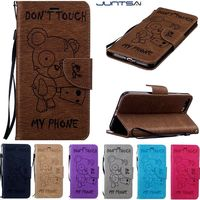 Luxury Retro PU Leather Soft Silicon Wallet Flip Cover Bear Case For Samsung galaxy S5 S6 S7edge S8 S8plus Case phone Coque