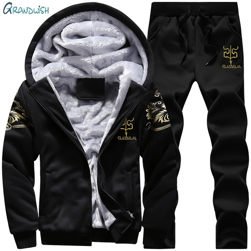 Grandwish Men Tracksuit Set Winter Fleece Hood Jacket+Pants Sweatshirts 2 Piece Set Hoodies Sporting Suit Coat SportSet , GA120
