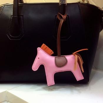 Kuzu derisi at deri anahtarlık hayvan anahtarlık kadın çanta uğuru lüks çanta aksesuarları llaveros Para Muj doğum günü hediyesi