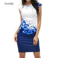 Lossky Лето 2019 г. женское платье большого размера повседневное без рукавов ONeck печати тонкий деловая модельная одежда пикантные облегающее мин...