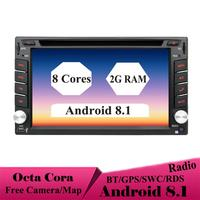 8 Cores Android 8.1 Universal 2 Din GPS Navigation Autoradio Car Multimedia Player BT Wifi OBD2 Stereo Radio Video Player