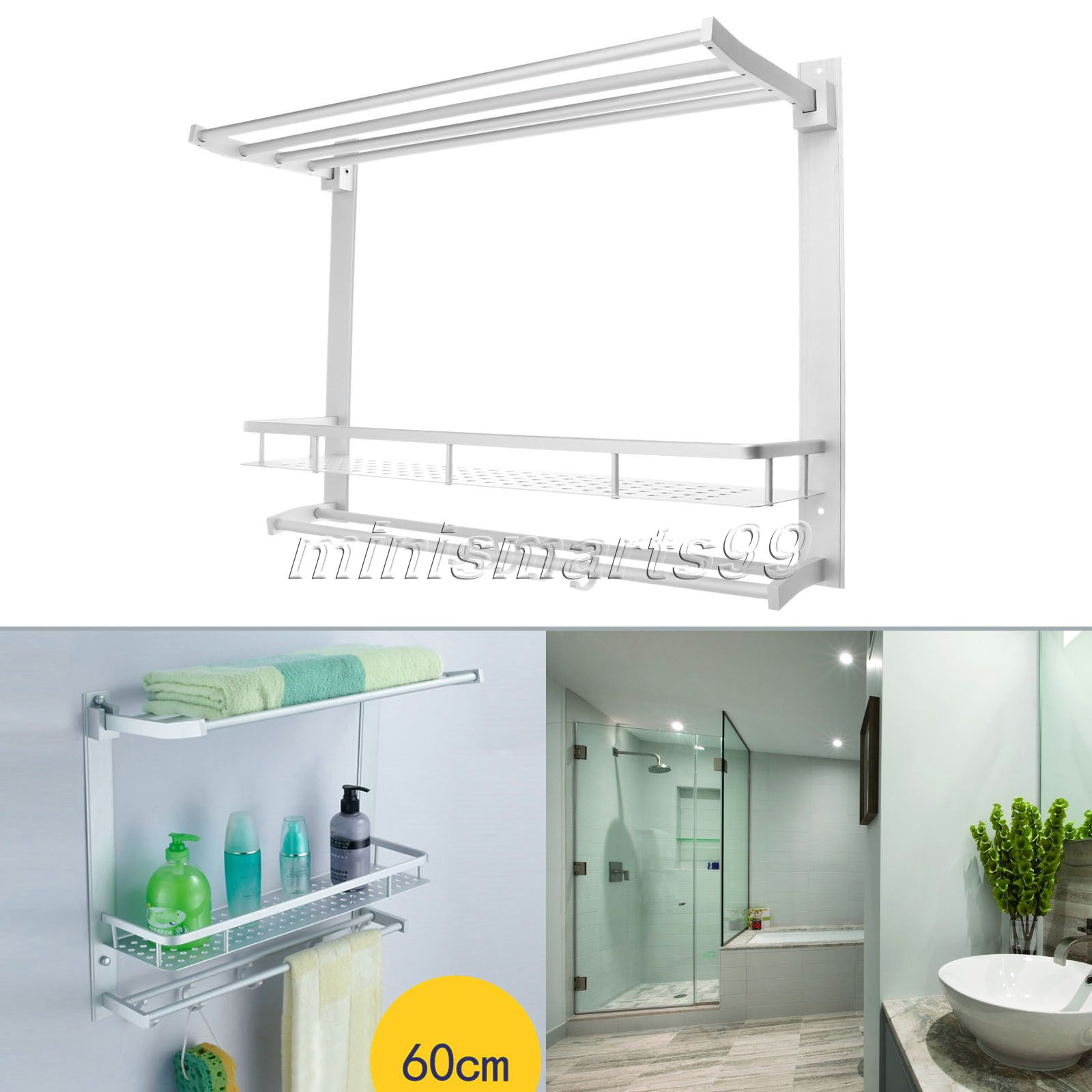 60CM Double Layers Aluminum Bathroom Rack Towel Shelves Washing ...