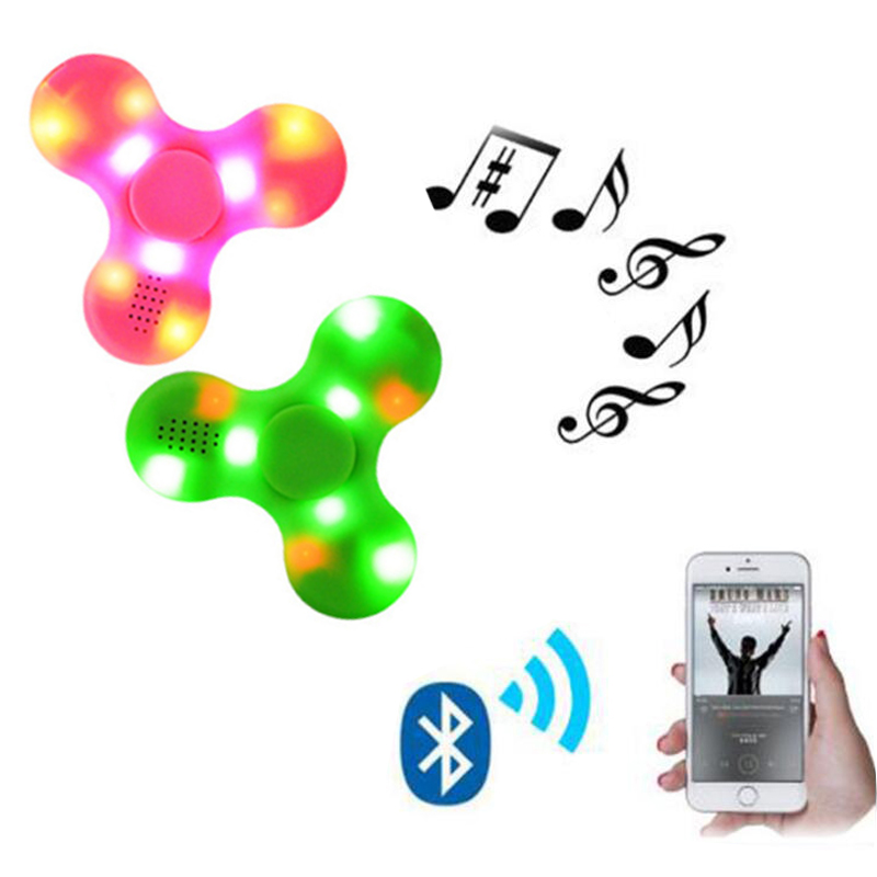 10pcs Fidget Spinner,LED Bluetooth Hand Speaker, Controller Spinner Tri Spinning Top Decompression Finger Spiner,Speaker Control