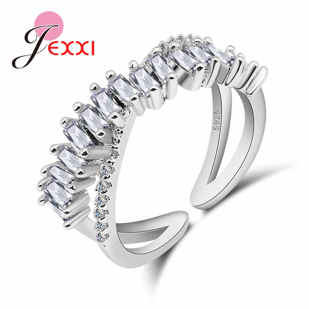 JEXXI Fine Genuine 925 Sterling Silver Finger Ring Cross Crystal Bague for Woman Lady Wedding Engagement Jewelry Resizable