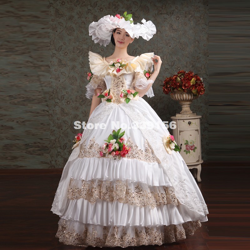Noble White Sequined Lace Rococo Southern Belle Dress Women Victorian  Marie Antoinette Costume Palace For Halloween/Christmas