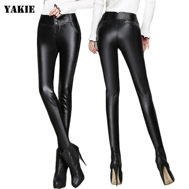 Mulheres stretch cintura alta de 2016 calças de couro do inverno 4XL 3XL feminino skinny calças lápis plus size calças de couro de qualidade senhoras