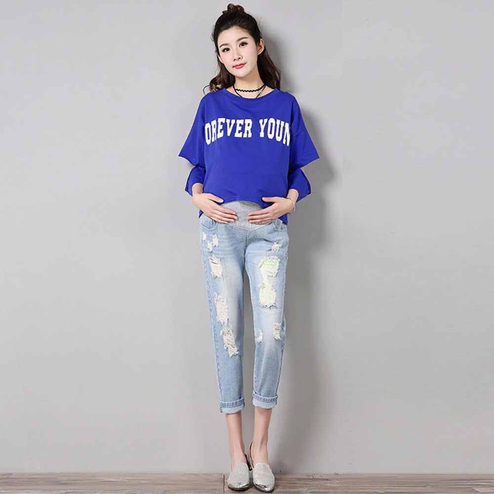 e4d661db30032 ... Jeans Women Pants Maternity Comfortable Blue Cotton Denim Pants Pregnant  Women Trousers Nursing Pregnancy Clothing Overalls