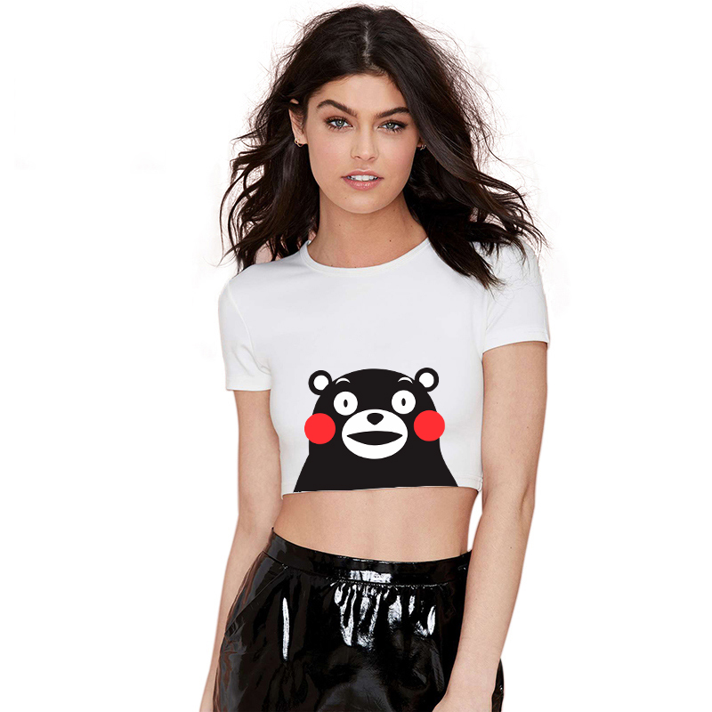 2017 Kawaii Black Bear Printed Sweet Girl T Shirt Women Casual Short Sleeve Crop Top Female Exposed Navel Short T Shirts Kwd029