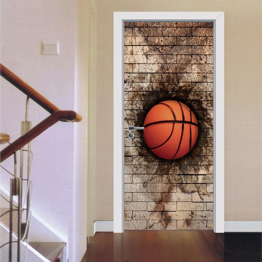 Aliexpress Com Buy New Design Creative Diy Wall Stickers: Creative DIY 3D Door Stickers Break Wall Basketball Design