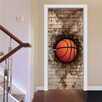 Creative DIY 3D Door Stickers Break Wall Basketball Design for Room Wall Decoration Home Decor Accessories Large Wall Sticker