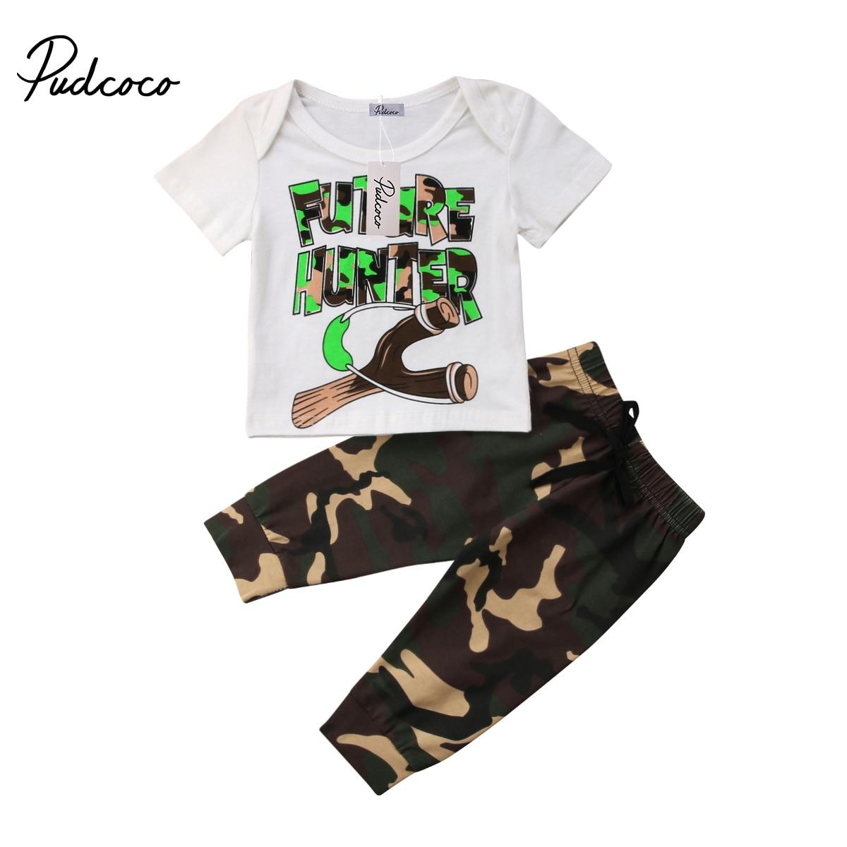 Pudcoco 2Pcs Casual Camo Tracksuit Newborn Baby Boy T-shirt Top+Long Pants Outfits 0-24Months Helen115