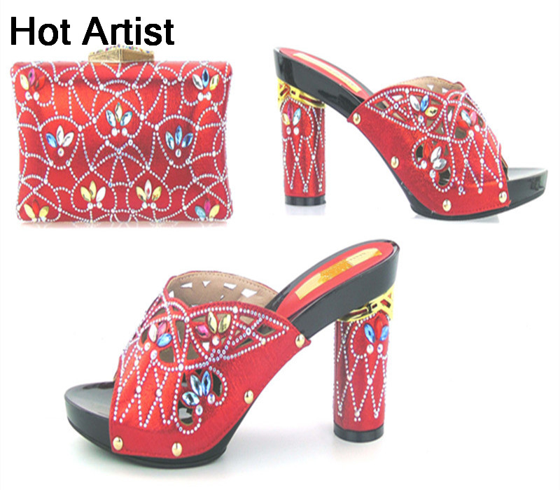 Hot Artist African Style Rhinestone Woman Shoes And Bag Set Fashion Italian High Heels Shoes And Bag Set For Party TYS17-93 hot artist new arrival italian style rhinestone woman shoes and bag set african high heels shoes and bag purse for party dress