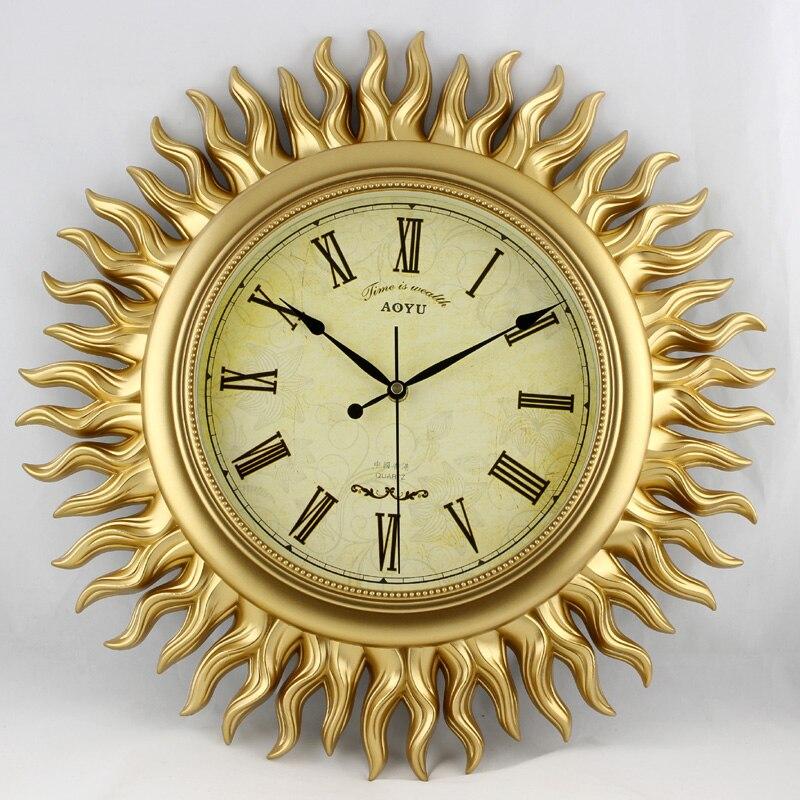 18 pouces D'or Soleil Art Montres Moderne Creative muet vivant Mur de la salle Horloge pointeur horloge Los relojes de pared diamètre 45 CM