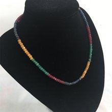 Esmeraldas naturais rubys safiras 3x4mm contas feminino colar de luxo sobre 45cm verniz preciosas pedra