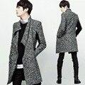 Príncipe Coreano dos homens da Moda Zíper Oblíqua Turn-down Gola Gola de Médio-longo Slim Fit Cardigan Sweater Brasão M-4XL HOT 2016