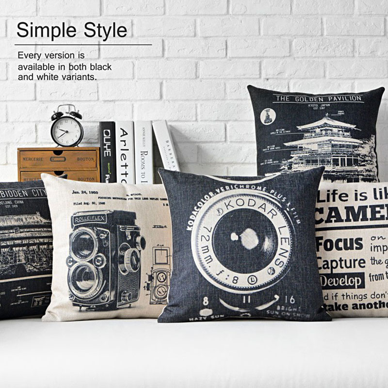 nordic black and white industrial wind pillow cover cushion linen cotton sofa car office home. Black Bedroom Furniture Sets. Home Design Ideas
