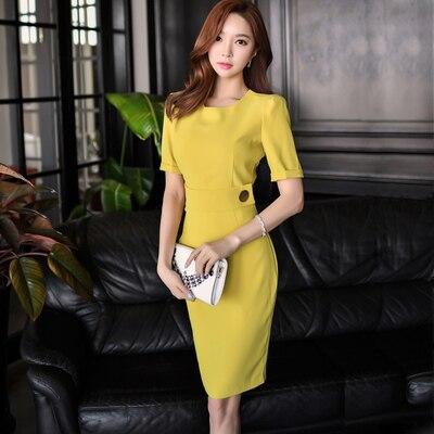 New Korean Style Women Office Work Wear Dress Elegant Split Sheath Slim Bodycon Party Dresses