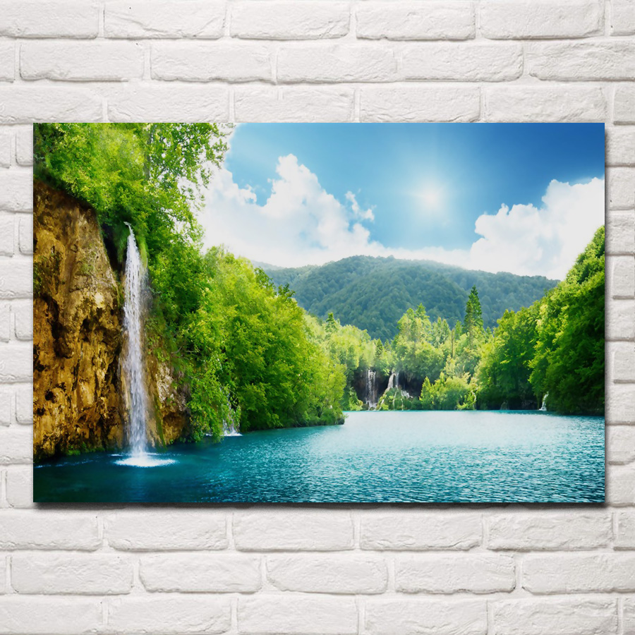 Us 7 67 36 Off Helle Natur Landschaft Berg Wasserfall See Kb685 Wohnzimmer Home Wand Moderne Kunst Dekor Holz Rahmen Stoff Poster Druckt In Malerei