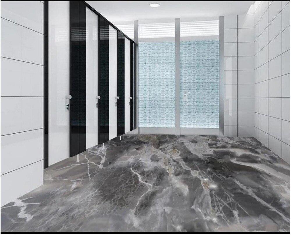 Papier peint photo 3d peinture au sol motif marbre gris salon salle de bain 3D sol auto-adhésif peinture au sol autocollants - 4