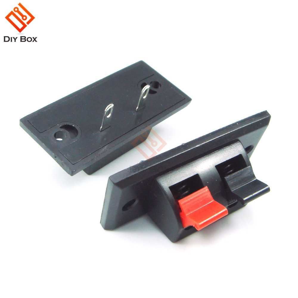 5PCS Zwart Rood 2PIN 2 PINS Way Push Schakelaar Voorjaar Push Release Connector Speaker Terminal Strip Block AC 50V 3A