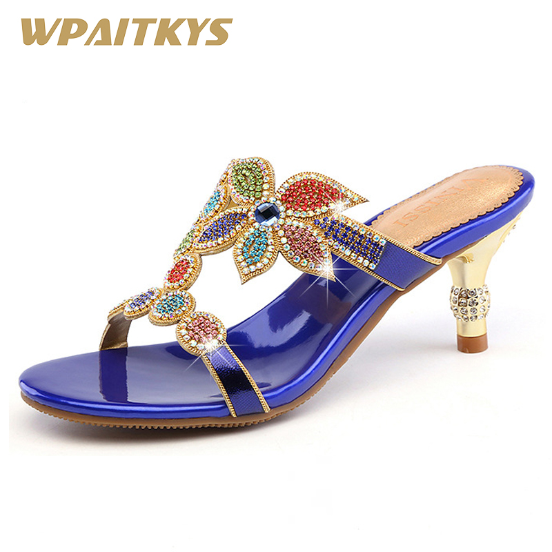 2018 Fashion Rhinestone Women s High heeled Sandals Golden Blue Purple Three Colors Crystal Leather Casual