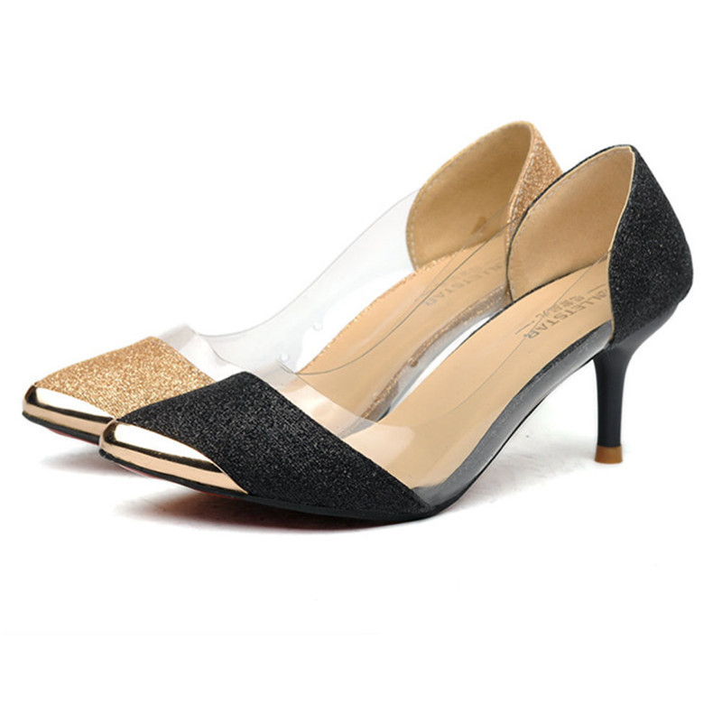 Woweino Women Pumps Shoes Excellent Quality Fashion PU Leather Thin High Heel Wedding Pumps Gold Sliver Shoes womens shoes smw smw smw q7 4n 11g