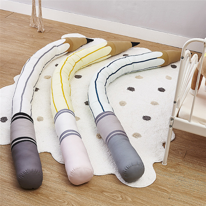 190 Cm Mode Neugeborenen Stoßstange Kinder Protector Kissen Kissen Bleistift Form Baby Bett Stoßstange Für Infant