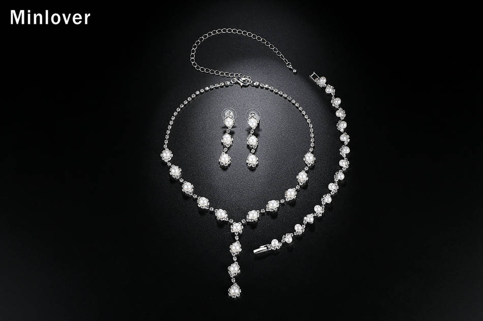 Minlover Floral Simulated Pearl Bride Wedding Jewelry Sets Simple Crystal Necklace Earrings Bracelets Sets for Women TL059+SL077 5