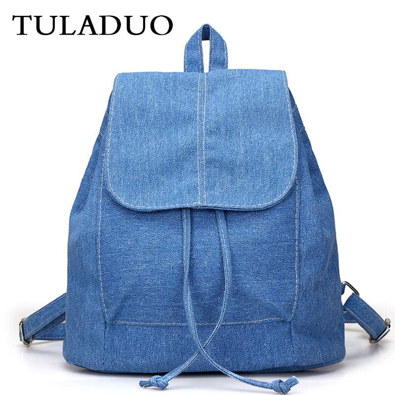 Tuladuo Women denim Backpacks for teenage Girls Small Drawstring Backpack jeans for Teenage Sac A Dos New Solid School Rucksacks