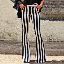 46be2fdc493d1 Women Loose Trousers Women s Elegant Black Vertical Striped High Waist  Pocket Wide Leg Pants Women Bell