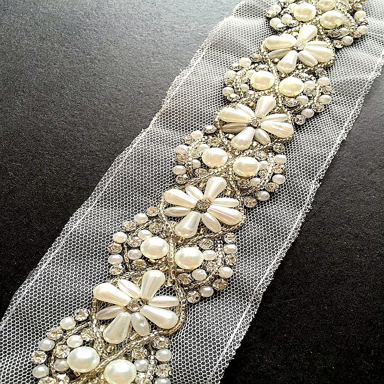 2yard Pearl Beaded Lace Trim Rhinestone Mesh Lace Ribbon Fabric For Sewing Clothes Wedding Dress Collar Lace Applique DIY Crafts