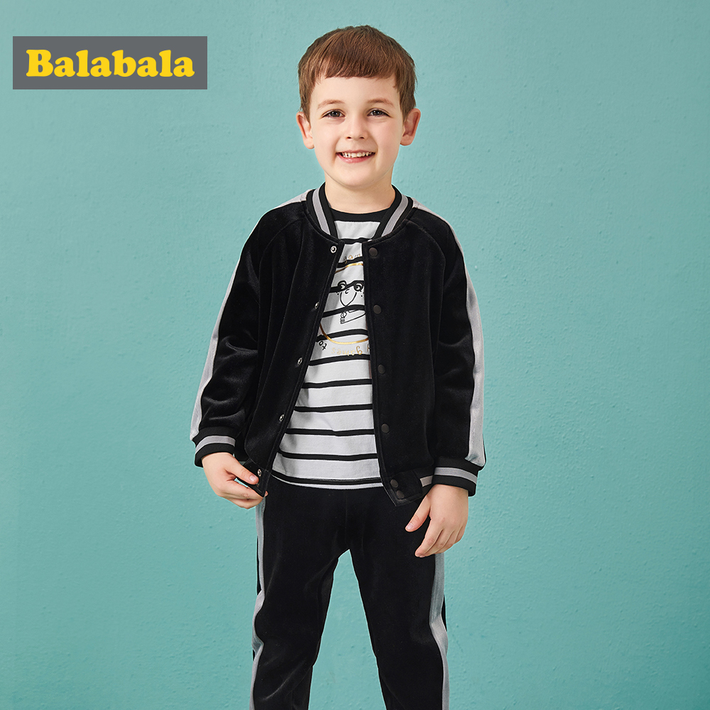 Balabala Toddler Boy Velvet Side Stripe-sleeved Baseball Jacket + Side-striped Sweatpants Set Children Kid Clothes Set AutumnBalabala Toddler Boy Velvet Side Stripe-sleeved Baseball Jacket + Side-striped Sweatpants Set Children Kid Clothes Set Autumn
