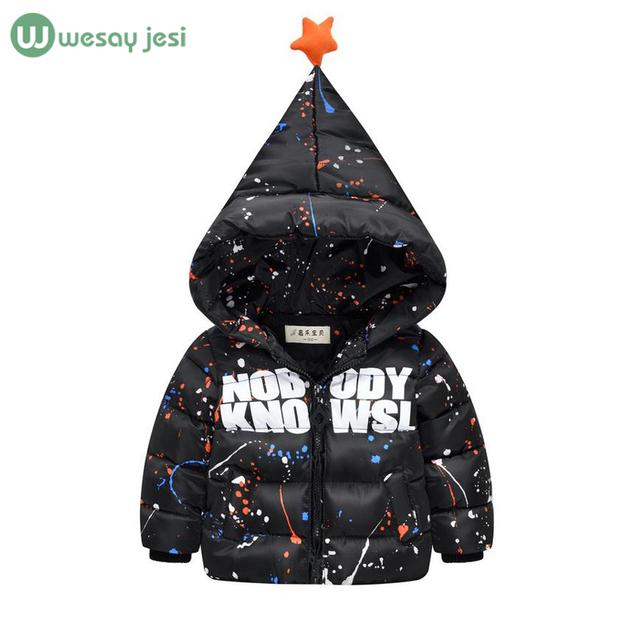 Meninos inverno para baixo casaco infantil para baixo casacos Moda graffiti impressão para meninas parka jaquetas grossas das crianças quentes para baixo casaco capô