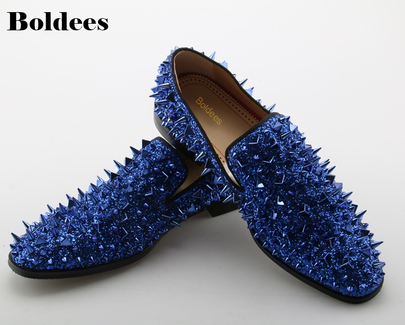 Runway Fashion Top Quality Men Shoes Blue Sequin Spikes Men Loafers Rivets Casual Dress Shoes Men Flats Suede men loafers top quality red bottom men shoes fashion dandelion spikes men loafers rivets casual dress shoes men flats black