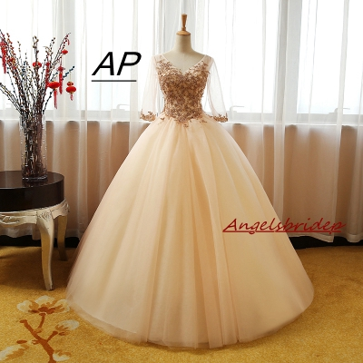 ANGELSBRIDEP Sweet 16 Ball Gown Quinceanera Dress Fashion Appliques Long Sleeves Vestidos De 15 Celebrity Party