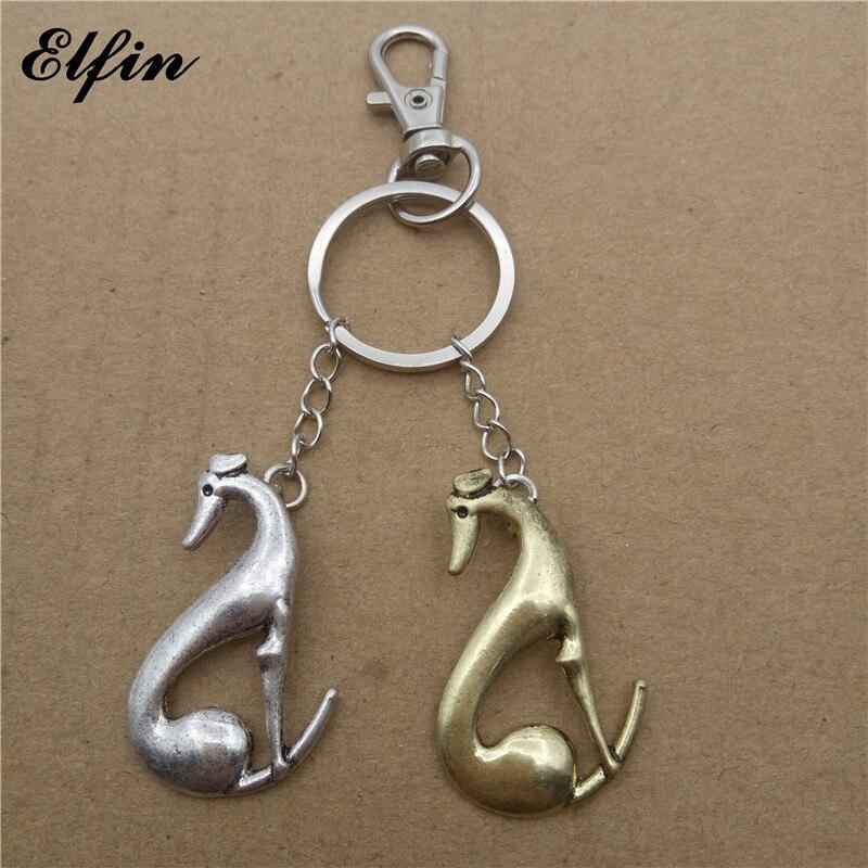 Elfin трендовые Грейхаунд брелки Модные животные Pet Мемориал ювелирные изделия виппет брелки