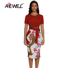 ADEWEL Casual Flower Printed Office Pencil Dress Women Short Sleeve Bodycon Party Midi Dress Formal Stretch Print Work Dresses 6xl oversized dress women clothing office bodycon midi pencil dress fashion square neck lace hook flower party dresses red blue