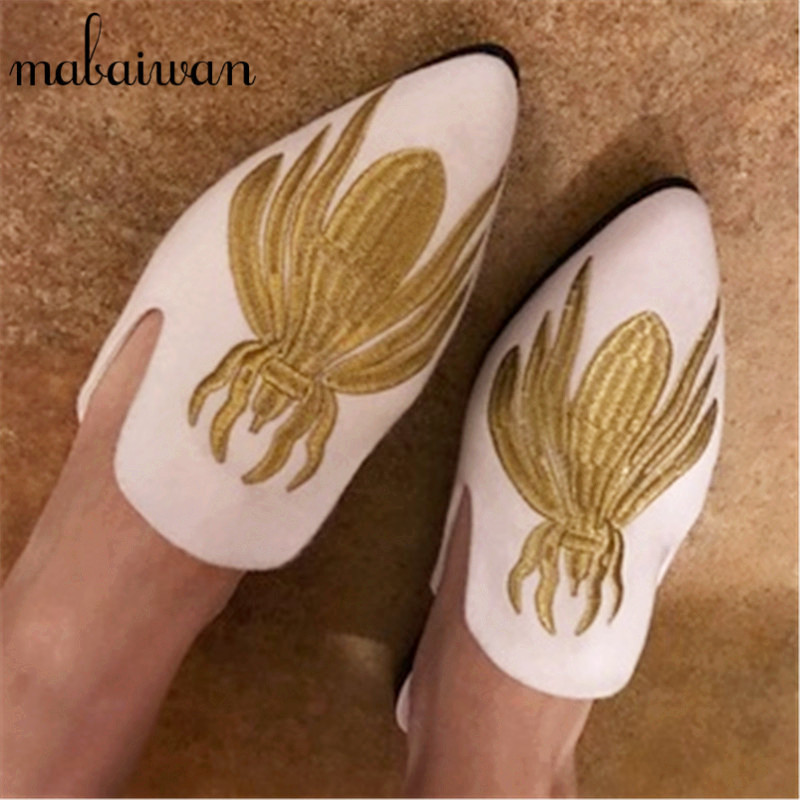 Spider Embroidery Women White Slippers Gladiator Sandals Summer Casual Flat Shoes Woman Velvet Slides Flats Beach Shoes Loafers new 2016 women rhinestone gladiator sandals summer flat casual shoes beach slippers size 35 39
