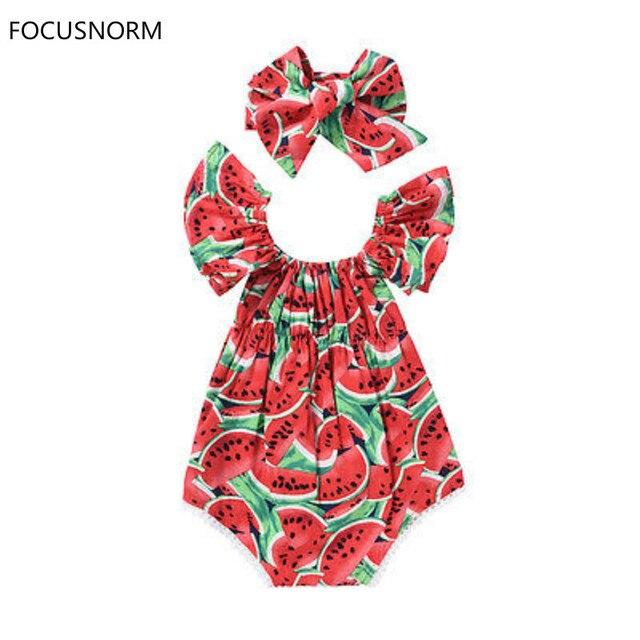 Focusnorm新生児女の子スイカ服フリル袖ボディスーツジャンプスーツ衣装遊び着
